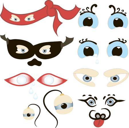 Comic Eyes Set, Illustration of a set of funny cartoon human, animals, pets or creatures eyes with various expressions and emotions, from fear to joy, happiness, sadness, surprise, boring and angry