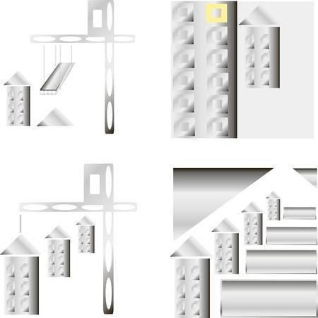 reconstruction: Building construction template illustration. Crane concept Real estate sign. Reconstruction web page. Design element.