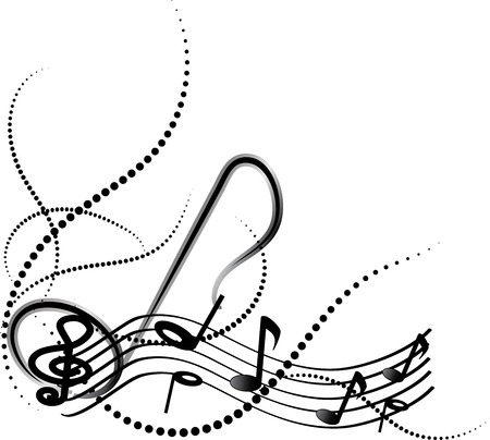 key signature: Ornamental music notes with swirls on white background.
