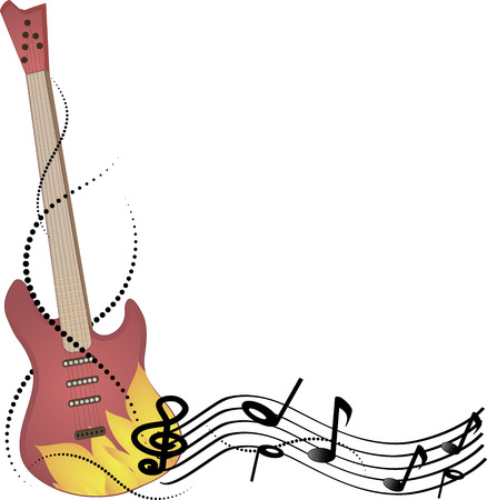 music machine: Abstract vector background music, guitar and notes.
