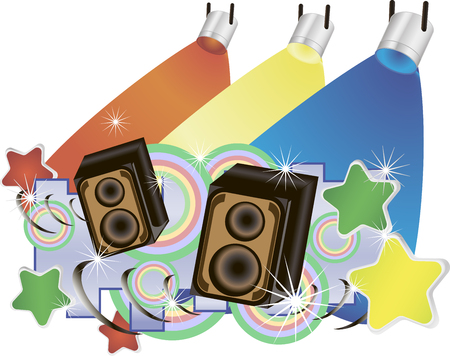 Abstract vector music background with speakers and colorful spotlights. Illustration
