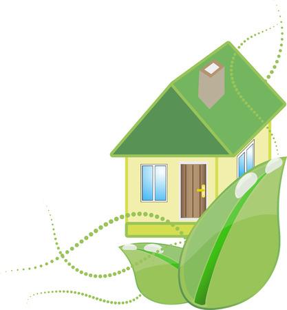 Illustration icon green house with leaf isolated on white background Illustration