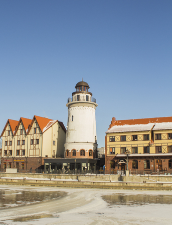 clearly: Russia. Kaliningrad. View of Fishing village building.