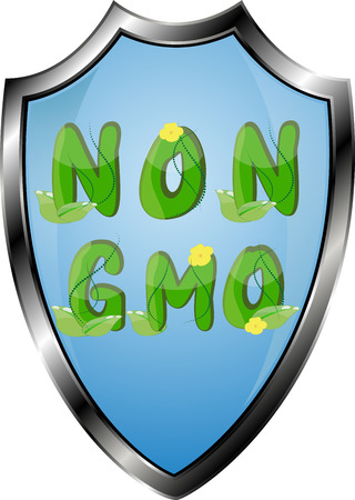 Non GMO or GMO free labels logos to indicate non genetically modified foods or on organic product packaging.