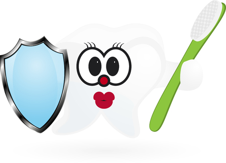 Happy Smiling Tooth With Toothbrush And Shield. Illustration