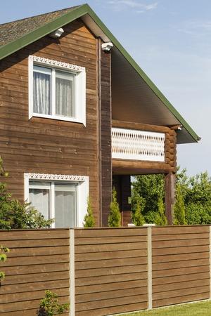 marken: wooden house, green grass and a blue sky Stock Photo