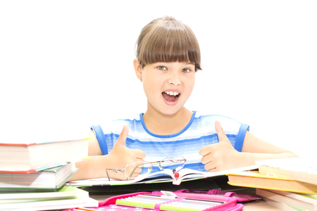 Cute teenager with books on white background, joy, success