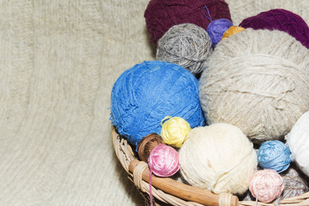 tangles of of wool in a basket on table