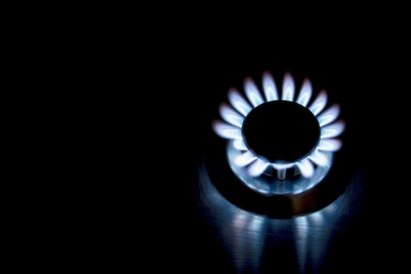 aura energy: Fire of gas stove on a black background