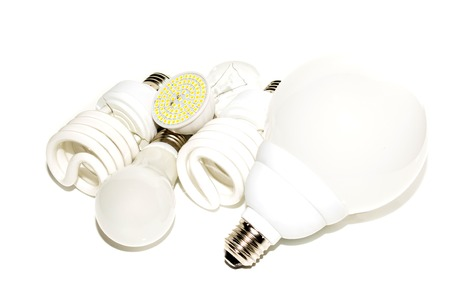 Several different led bulbs and compact fluorescent lamps