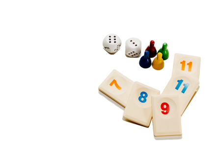 board game play figures and double dices isolated on white background Stock Photo