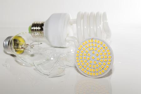 Broken Light bulb on a white background Stok Fotoğraf