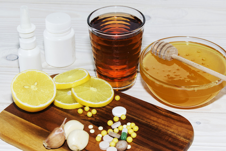 health, traditional medicine and ethnoscience concept - natural and synthetic drugs Stock Photo
