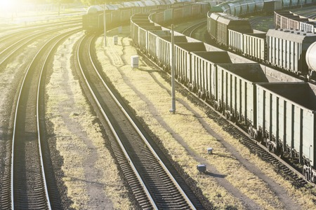 Empty railway cars for transportation of bulk cargo, top view. Stock Photo