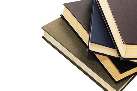 pile of old books on white background. Isolated background.