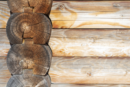 brown rustic wooden texture background. facade of a log house, copy space Stock Photo
