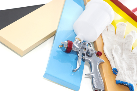 Details of furniture, painting parts with multi-colored paint