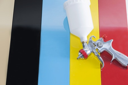 Details of furniture, painting parts with multi-colored paint. Banco de Imagens