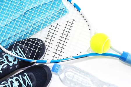 Tennis racket on white background. rocket, ball, water bottle. 스톡 콘텐츠 - 127679910