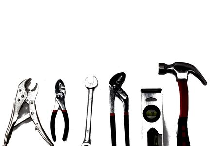 Close up tools on white background. isolated.