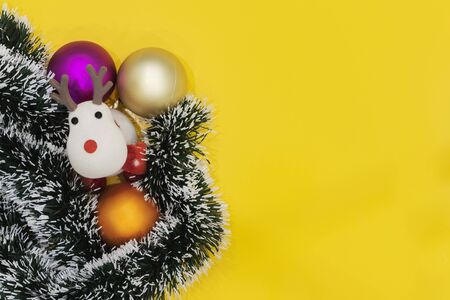 Christmas or New year background. Vintage Christmas tree toys decoration balls on bright background, copy space