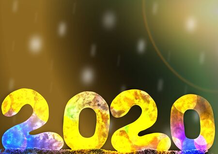 Happy new year 2020 on bright background with copy space for text, for holiday card Stockfoto
