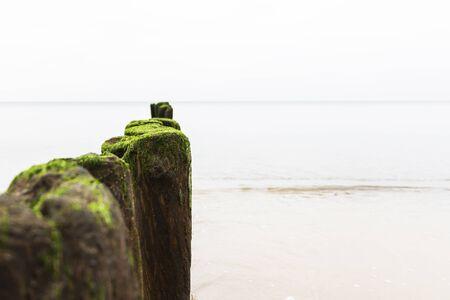 the breakwater on a calm beautiful sea. 스톡 콘텐츠