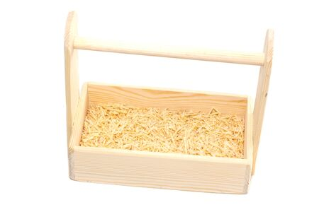 Empty wooden box. Made of pine, on a light white background