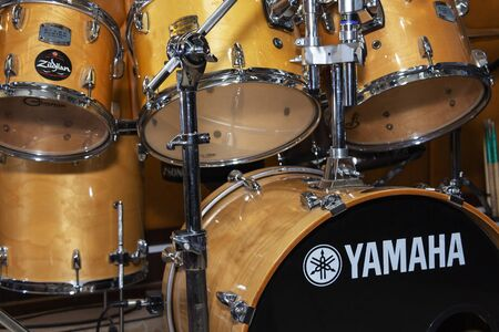 Kaliningrad, Russia. 29.09.2019: Yamaha drums. shooting in a photo Studio