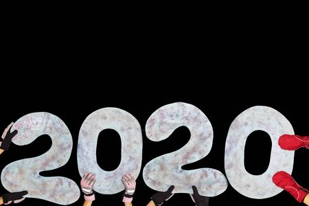 Happy new year 2020 isolated on black background with copy space for text, for holiday card