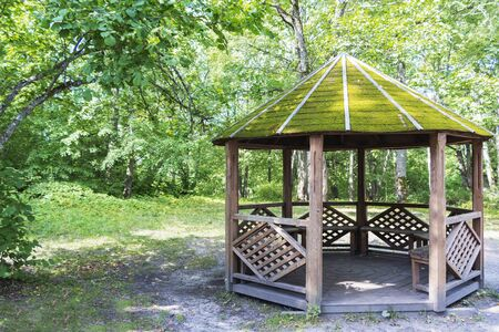 open wooden gazebo with a roof of moss in a beautiful forest.