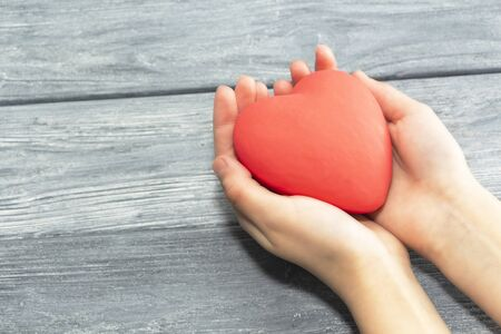 Female hands holding a red heart, the concept of love and care. 스톡 콘텐츠