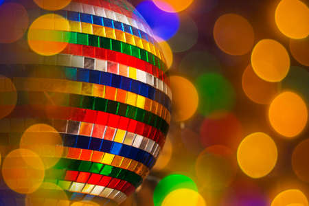 abstract multi-colored disco light ball for party background