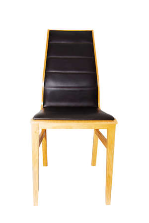 Modern new wooden chair with leather seat, isolated on a white background