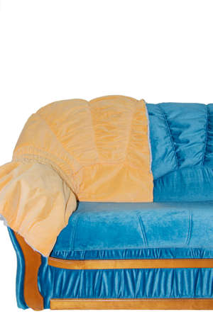 bright double sofa after renovation, isolated on a white background. Repair of upholstered furniture Standard-Bild