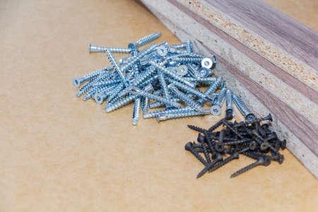 Screw-on for furniture. Metal screw. Vertical. Metal screws. Furniture fittings and fittings. Stainless steel. Realistic.