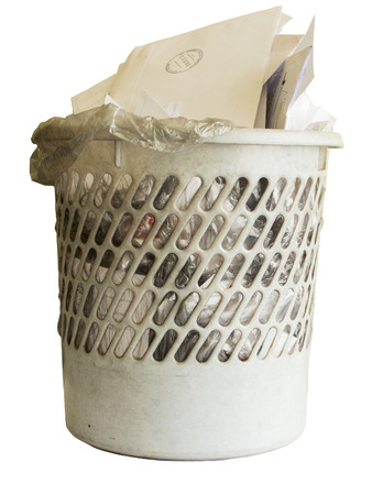 Full office basket. Isolated on white background. Stock Photo