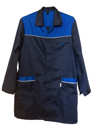 boilersuit: Dark blue cotton smock with large pockets. Isolated on white backgrround