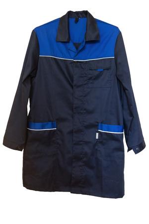 smock: Dark blue cotton smock with large pockets. Isolated on white backgrround