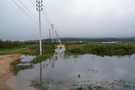 reflectance: Electric poles are removed to the horizon. Big puddle around them are reflecting the wire and mast.
