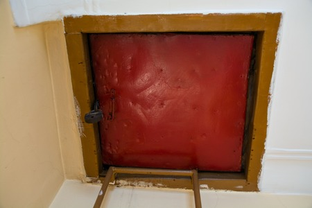 Service exit to the roof. Red square hatch.