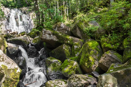 Small mountain waterfall in the forest. Big boulders plated by green moss on river banks. Stock Photo