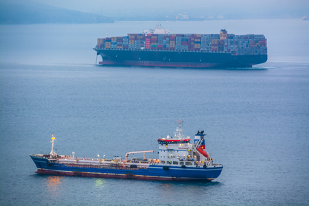 Two nautical ships in a harbor at early morning. Big container ship anchored in the sea bay.