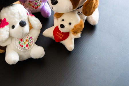 Soft plush toys. Small dogs. Symbol of valentines day.