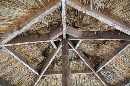 Ceiling made from straw. Interior of gazebo.