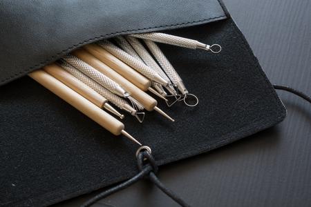 Artists sculpting tools. Set of different art tools.