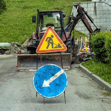 road signs construction work is underway Archivio Fotografico