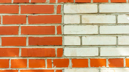 horizontal red and white brick wall, background, textures 스톡 콘텐츠