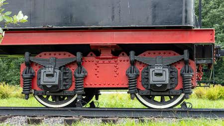 wheel of a pre-revolutionary Soviet steam locomotive Foto de archivo