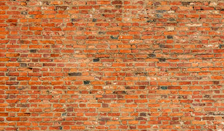 horizontal wall of old red brick, backgrounds, textures